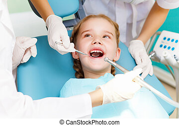 peu, dentiste, girl, visiter