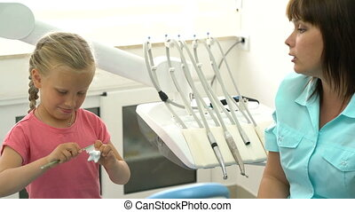 peu, dentistes, girl, bureau, séance