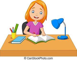 peu, dessin animé, étudier, écriture, girl