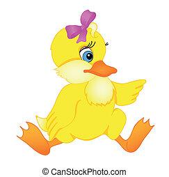 peu, dessin animé, canard