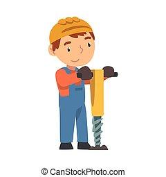 peu, dessin animé, garçon, construction, constructeur, pneumatique, caractère, dur, vecteur, professionnel, chapeau, salopette, bleu, mignon, plongeur, ouvrier, illustration, porter, style, outillage