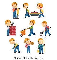 peu, dessin animé, garçon, ouvriers construction, ensemble, constructeurs, outils, dur, vecteur, action, professionnel, chapeau, salopette, bleu, illustration, porter, caractères, style