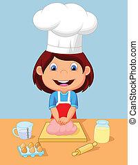 peu, dessin animé, girl, cuisson