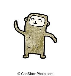 peu, dessin animé, singe