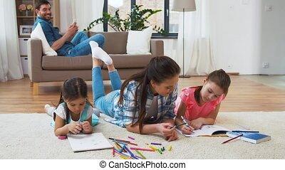 peu, dessin, filles, mère, maison