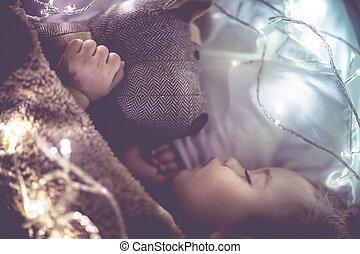 peu, dormir, mignon, maison, bébé