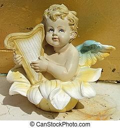 peu, doux, ange, jouer, harpe