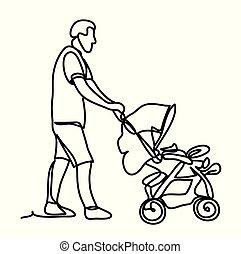 peu, drawing., ensoleillé, continu, père, isolé, fils, ligne, arrière-plan., vecteur, stroller., blanc, dessin, lignes, monochrome, park.