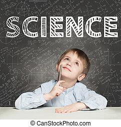 peu, education, arrière-plan., étudiant, pensée, garçon, sur, science, gosse