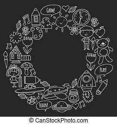 peu, elements., icônes, enfants, toys., vecteur, jardin enfants, jeu, apprendre, grandir, ensemble.