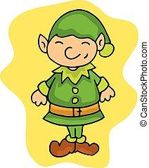 peu, elfe, noël, assistants, dessin animé, gosse