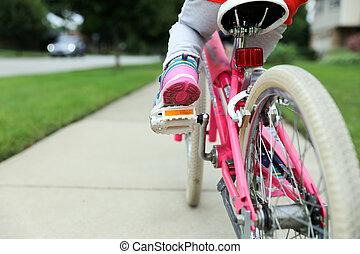 peu, elle, équitation vélo, girl, route, gentil