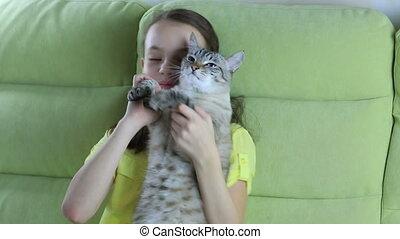 peu, elle, communique, cat., bien-aimé, girl