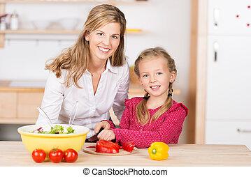 peu, elle, cuisine, portion, mère,  girl