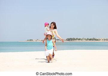 peu, elle, deux, mère, plage, filles