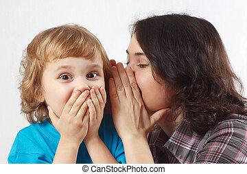 peu, elle, fils, chuchotements, top secret, mère