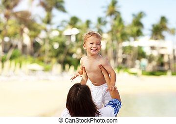 peu, elle, fils, mère, amusement, plage, avoir