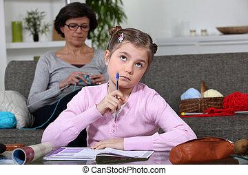 peu, elle, girl, devoirs