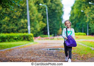peu, elle, gymnase, fôlatre sac, aller, girl, adorable