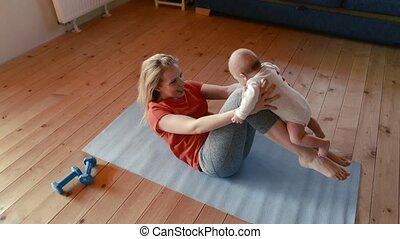 peu, elle, mère, fitness, bébé, home.