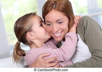 peu, elle, maman, baisers, portrait, girl