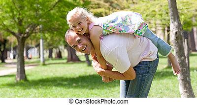 peu, elle, père, amusement, girl, avoir, heureux