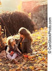 peu, elle, parc, automne, mère, girl