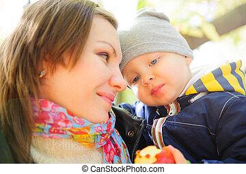 peu, elle, parc, jeune, fils, automne, mère