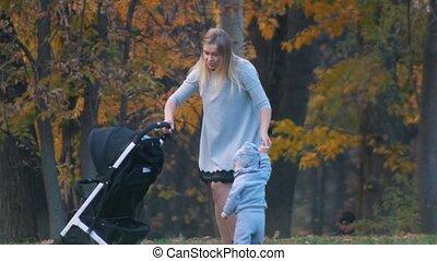 peu, elle, parc, marche, jeune, automne, tenue, mère, fils bébé, hands.