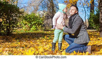peu, elle, parc, père, automne, baisers, girl