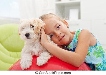 peu, elle, pelucheux, chien, petit, girl, jouer