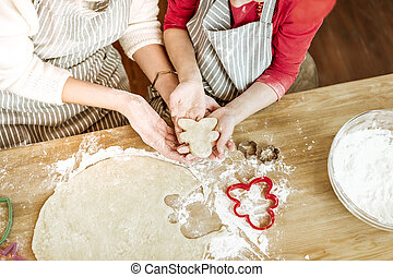 peu, elle, positif, mains, porter, petit gâteau, enfant, unready