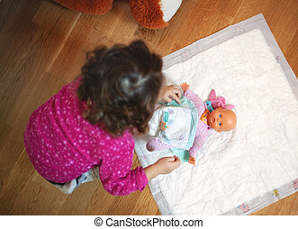 peu, elle, poupée, toy., couche, bébé, changer, girl