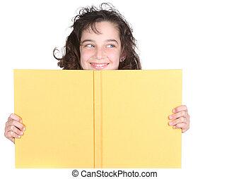 peu, elle, sur, école, regarder, livre, girl