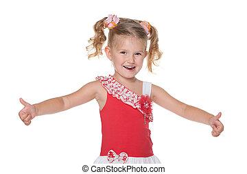 peu, elle, tient, haut, rire, girl, pouces