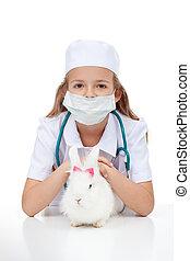 peu, elle, vétérinaire, lapin, girl, jouer