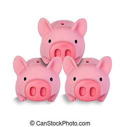 peu, empilé, trois, cochon, autre, chaque, banques, monnaie