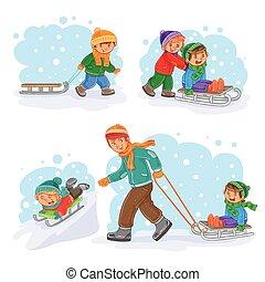 peu, ensemble, enfants, hiver, icônes