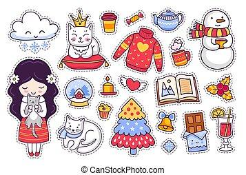 peu, ensemble, hiver, girl, griffonnage, kitten., pièces, style., vecteur, prints., autocollants, insignes, dessin animé, epingles, illustration.