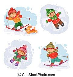 peu, ensemble, hiver, icônes, vecteur, enfants