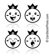 peu, ensemble, icônes, royal, prince, bébé