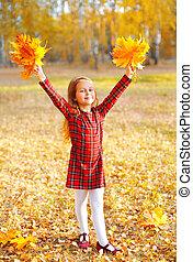peu, ensoleillé, jaune, avoir, automne, pousse feuilles, enfant, amusement, girl, jour, érable