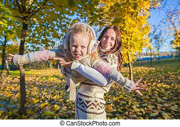 peu, ensoleillé, parc, jeune, avoir, automne, mère, amusement, girl, adorable, jour