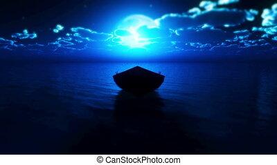 peu, entiers, bateau, lune