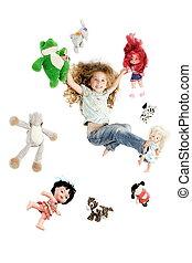 peu, entouré, girl, jouets