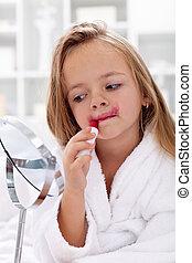peu, essayer, girl, rouge lèvres