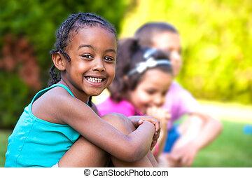 peu, extérieur, américain, africaine, portrait, girl, adorable