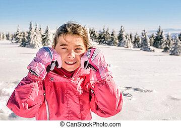 peu, extérieur, hiver, neige, portrait, girl, heureux