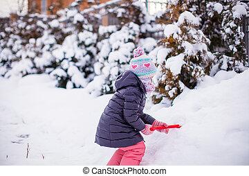peu, extérieur, hiver, parc, girl, adorable, jour