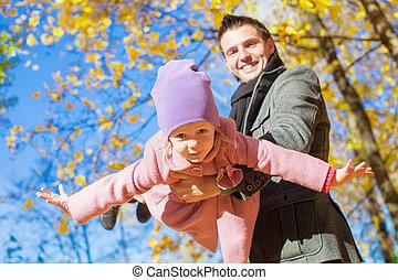 peu, extérieur, père, girl, adorable, heureux